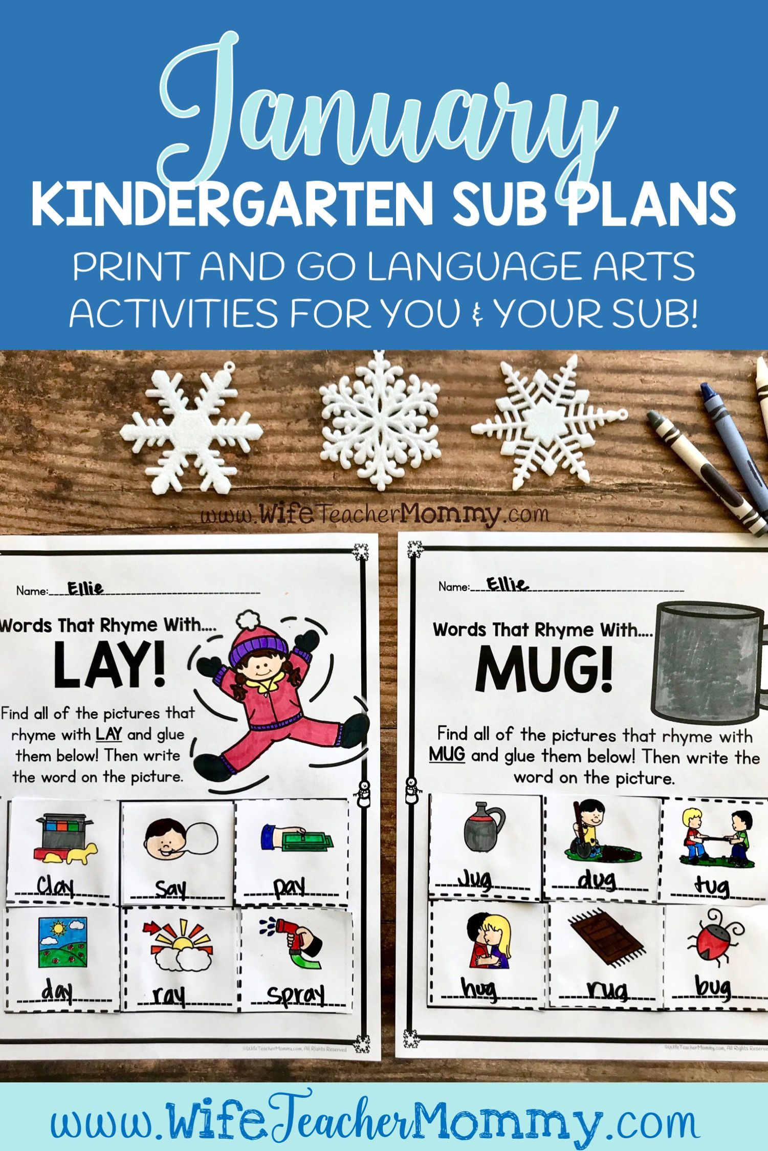 These Kindergarten Sub Plans For January Include Ready To