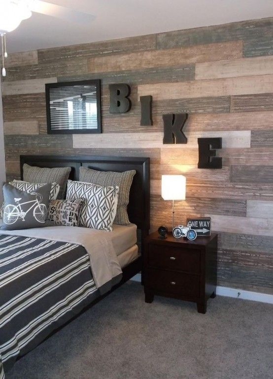 Teen Boy Bedroom Paint Ideas Part - 45: The Wall Was Taped And Each Faux Plank Was Painted Separately For A Varied  Look In This Teen Boys ...