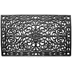 Momentum Mats Renaissance Rectangle Rubber Door Mat (30x48), Black