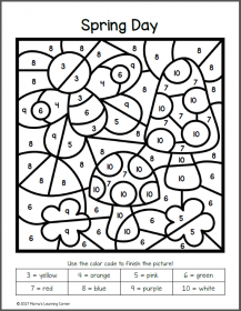 Spring Color By Number Worksheets Color by numbers