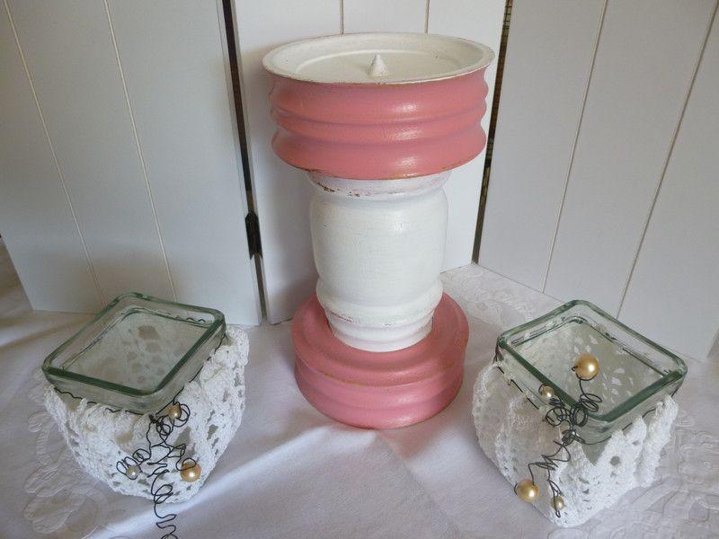 """Kerzenleuchter+""""Pink+Lady""""+von+Nostalgica+&+Mosaica+auf+DaWanda.com"""
