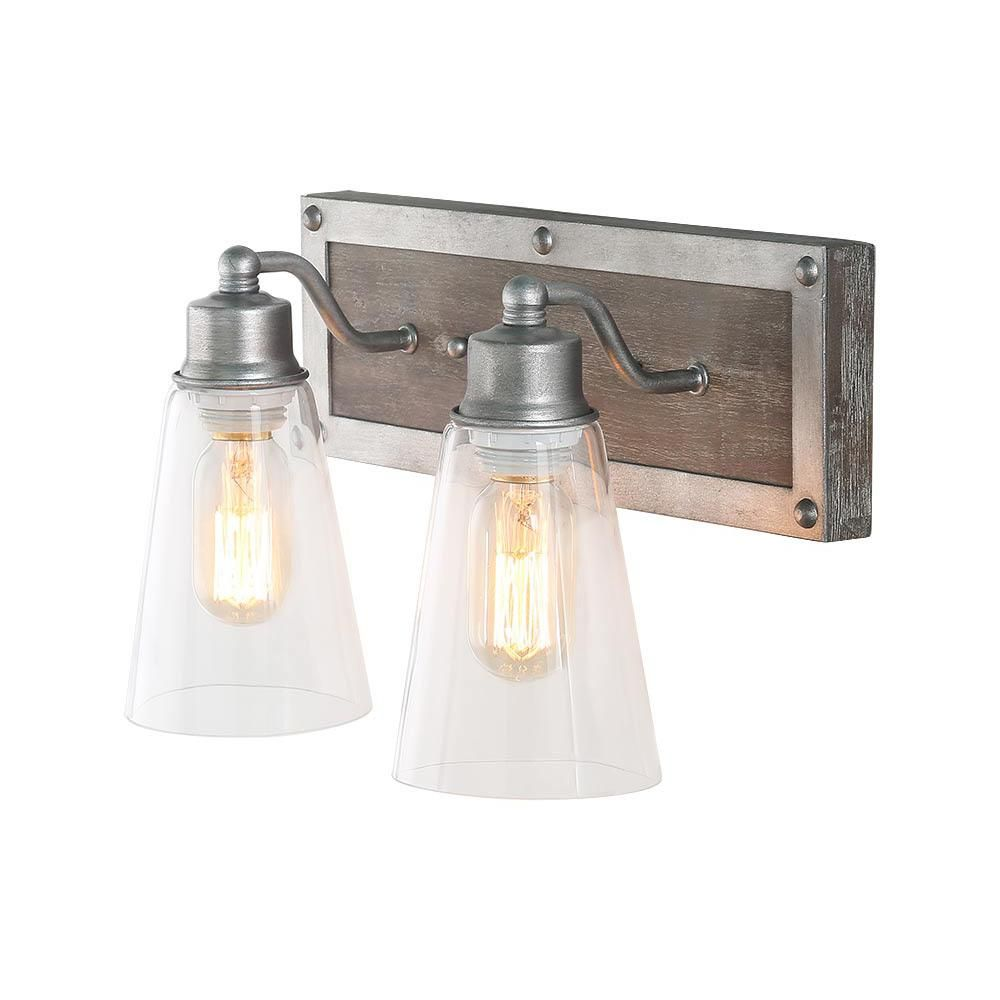 Lnc 2 Light Aged Silver Wood Vanity Light With Clear Glass Shade A03331 In 2020 Farmhouse Vanity Lights Farmhouse Light Fixtures Farmhouse Style Lighting Fixtures
