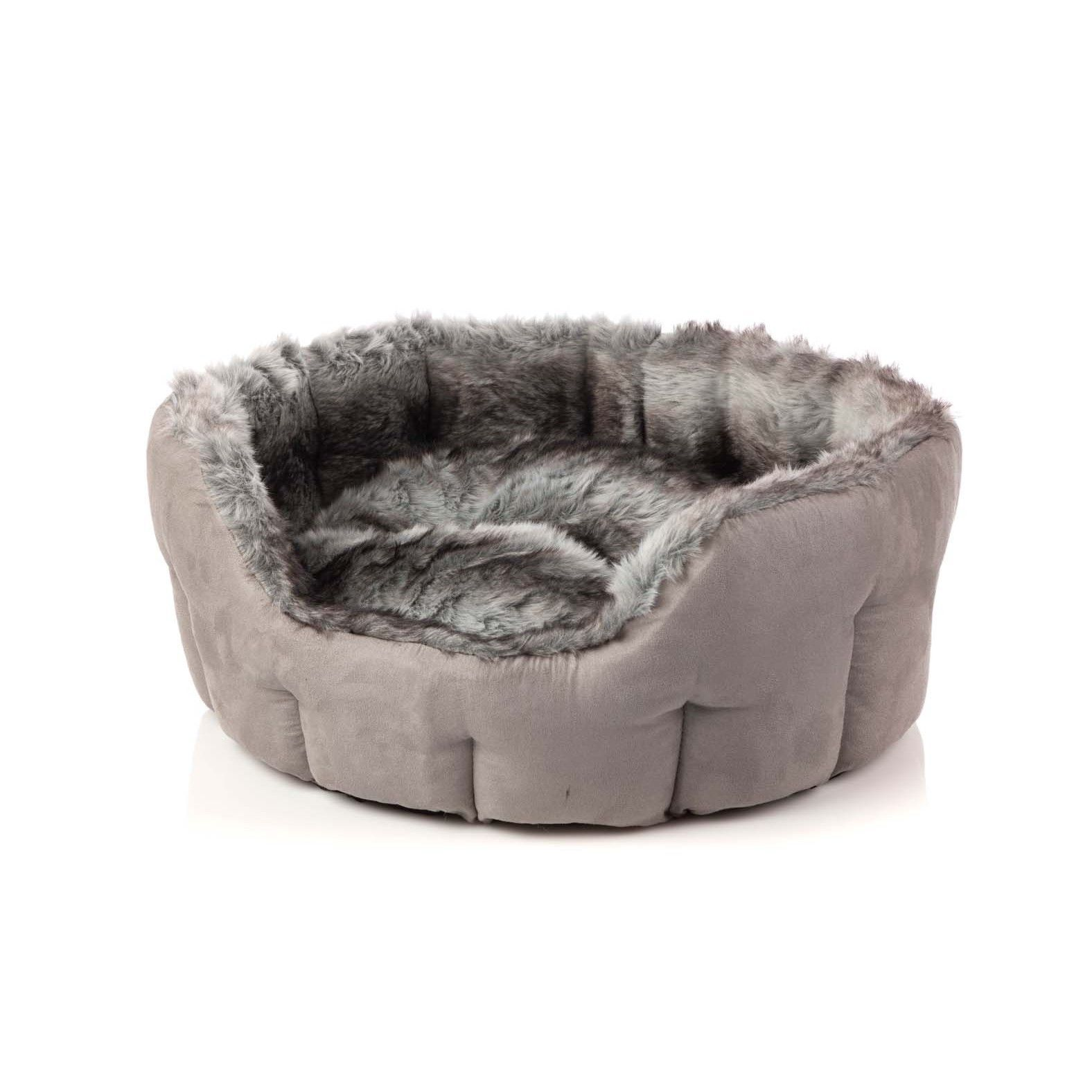 Silver Arctic Fox Faux Fur Luxury Dog Bed by House of Paws