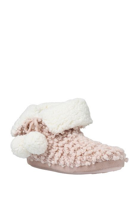 Tesco direct: F&F Sequin Popcorn Knit Bootie Slippers | Slippers ...