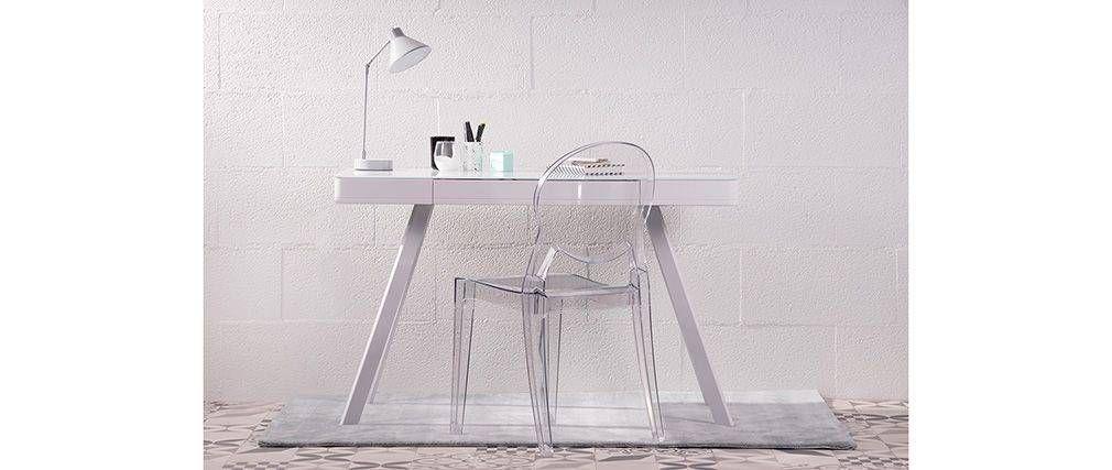Bureau Connecte Multimedia Verre Noir Et Metal Blanc Clever Home Decor Decor Chair