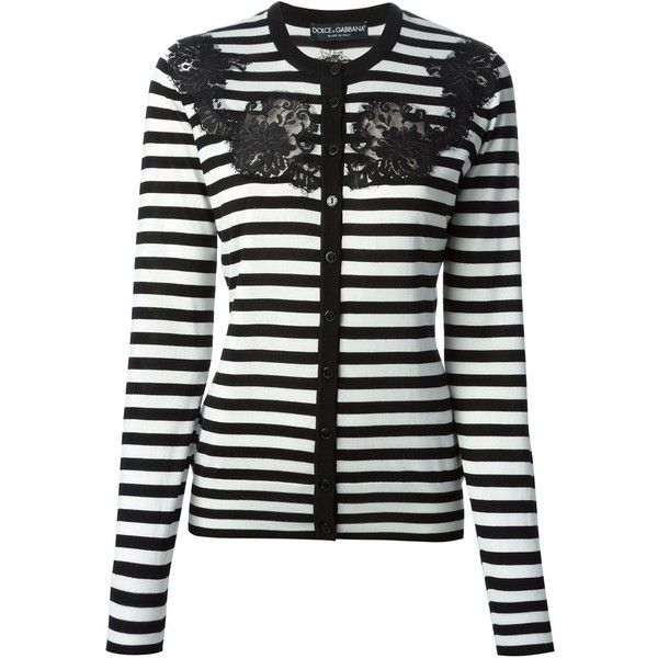 e190d8a36a Dolce   Gabbana lace detail striped cardigan (998.960 CLP) ❤ liked on  Polyvore featuring