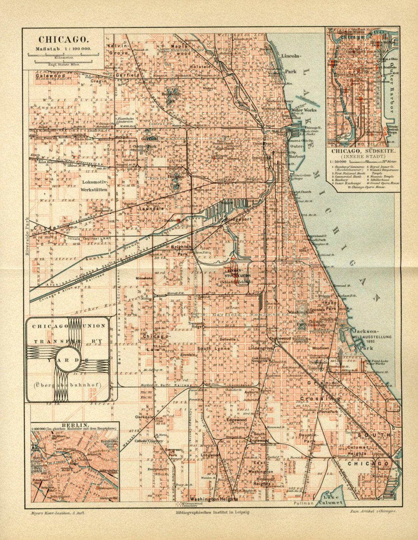 Vintage Map of Chicago, Illinois, USA C.1895 - Vintage Decor ...