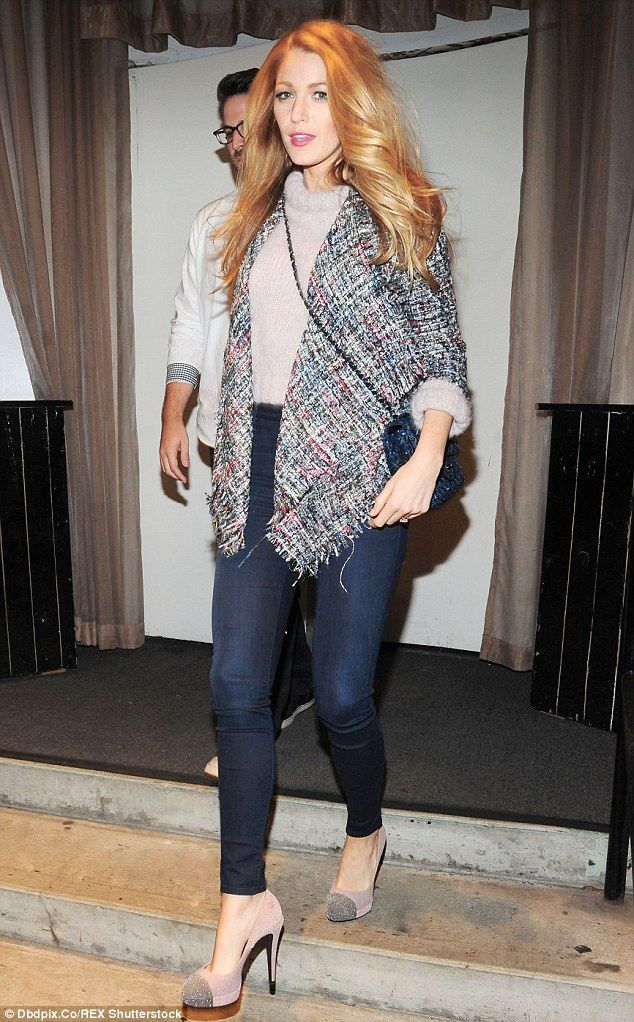 Putting her best foot forward: Blake Lively looked lovely in a soft, grey sweater as she was spotted leaving a sushi restaurant in Brooklyn on Wednesday