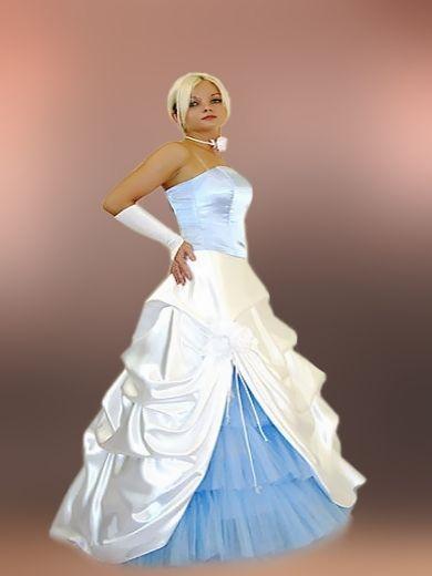 Bodenlanges Hochzeitskleid Blau Weiß Farbwahl 34 bis 48 | Fantasia ...