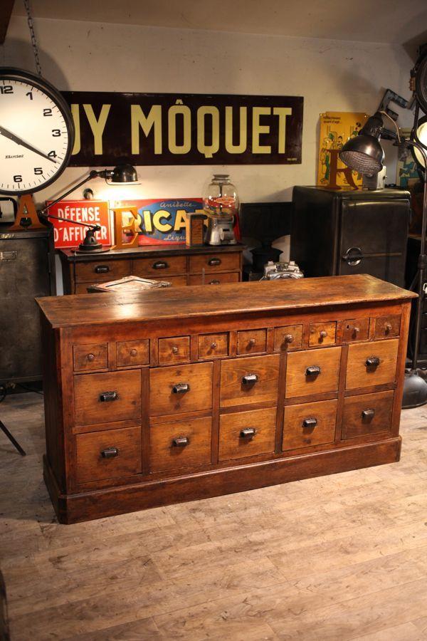 Meuble De Metier Ancien Deco Loft Meuble De Metier Mobilier De Salon Meuble A Tiroir