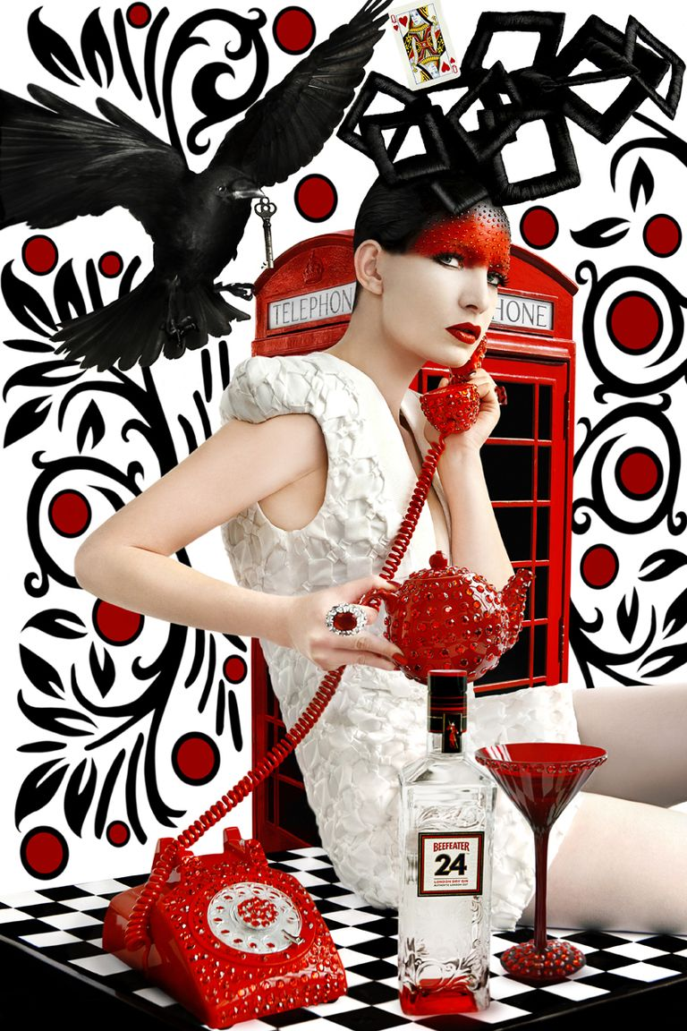 Red & Black Telephone  by Rebecca Litchfield Art Photography