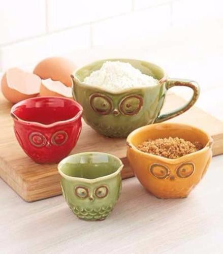 Measuring Cup Set Owl Storage Kitchen Retro Vintage Boho Ceramic 4 Pc New Owl Kitchen Owl Kitchen Decor Fall Kitchen Decor