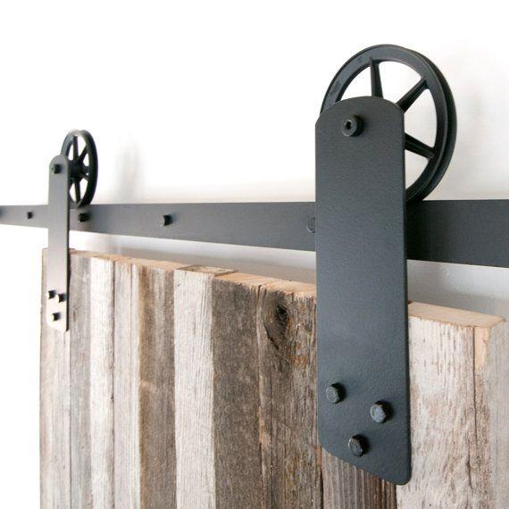 vintage industrial strap spoked european sliding barn door closet hardware set jahrgang stahl. Black Bedroom Furniture Sets. Home Design Ideas