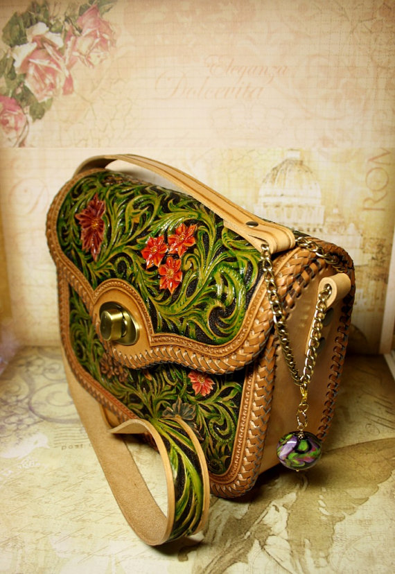 80ca139aa Charming small handmade genuine leather shoulder bag with a floral hand-  tooled pattern in Sheridan style painted with natural vegetable dyes over  the ...