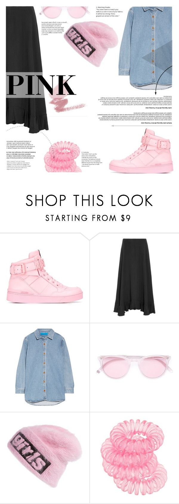 """""""№"""" by sophiateresa ❤ liked on Polyvore featuring Moschino, Chloé, M.i.h Jeans, Garrett Leight, Alexander Wang, Miss Selfridge, Pink and fashionset"""