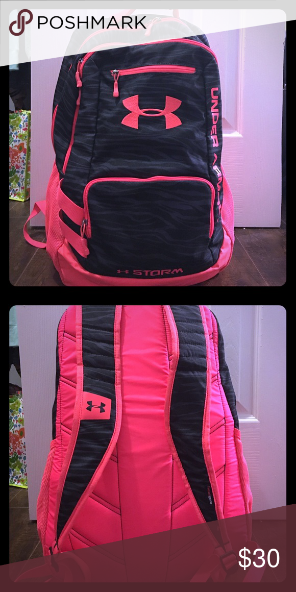 Under Armor Backpack Bright red-orange with a black zebra print. Under  Armour Bags Backpacks 328a93a436