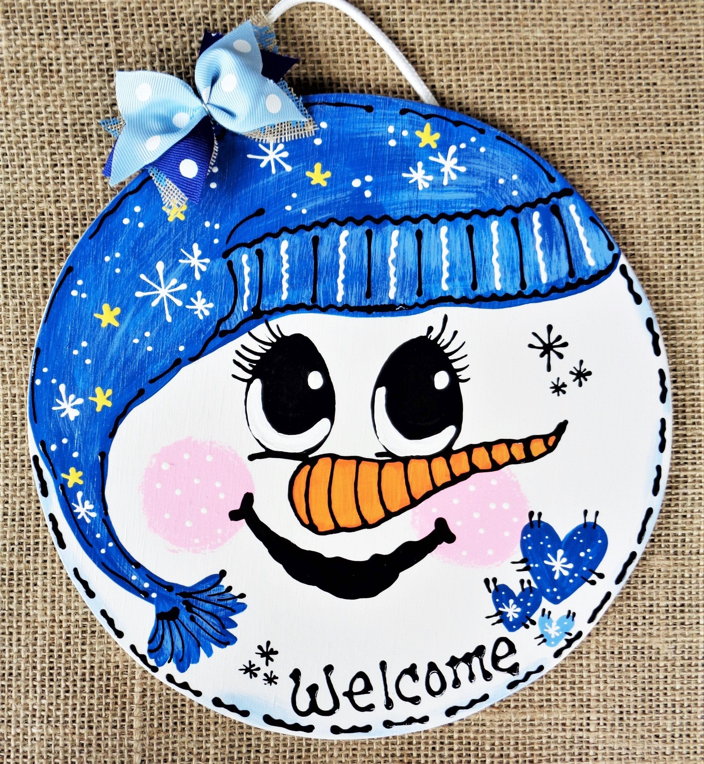 Snowman Face Circle Sign Wall Art Door Winter Christmas Plaque Wreath Welcome Decor Handcrafted Hand Painte Country Wood Crafts Snowman Faces Christmas Plaques