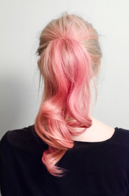 Kayla would love this/summer vacation: Four packets of Pink Lemonade Kool Aid, mixed with a few tablespoons of conditioner, applied to damp hair and left on overnight. (Wrap hair in plastic wrap) In the morning, rinse and enjoy this temporary color for 10 days or so... @Carol Lybbert Turley, if you get the itch to color your girls hair this summer