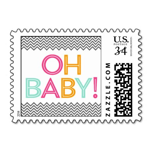 Bright and Bold Modern Chevron Baby Shower Stamps