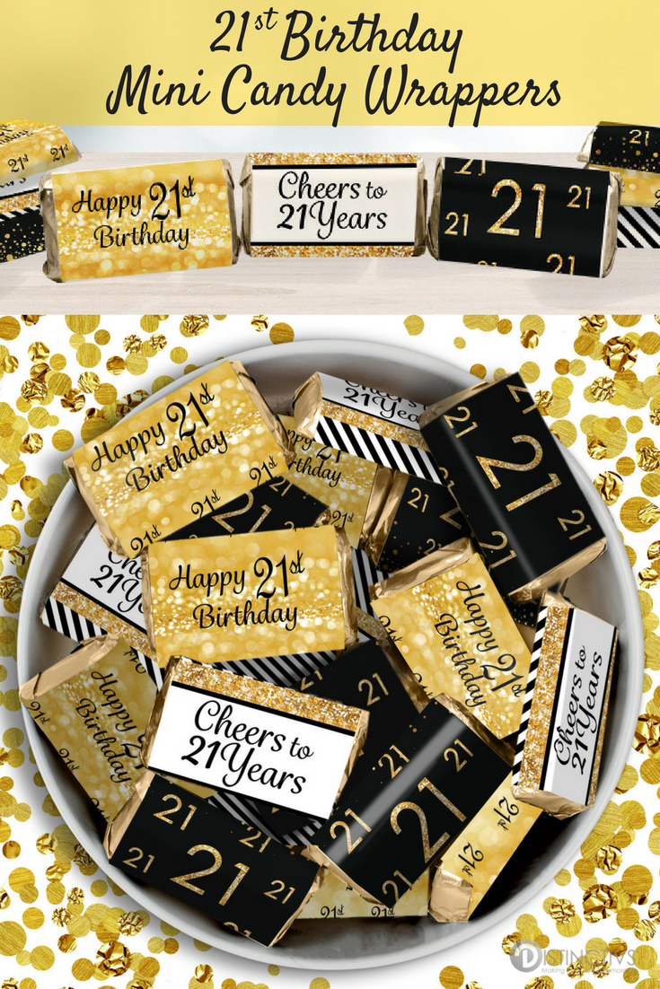 Black And Gold 21st Birthday Party Mini Candy Bar Stickers 45