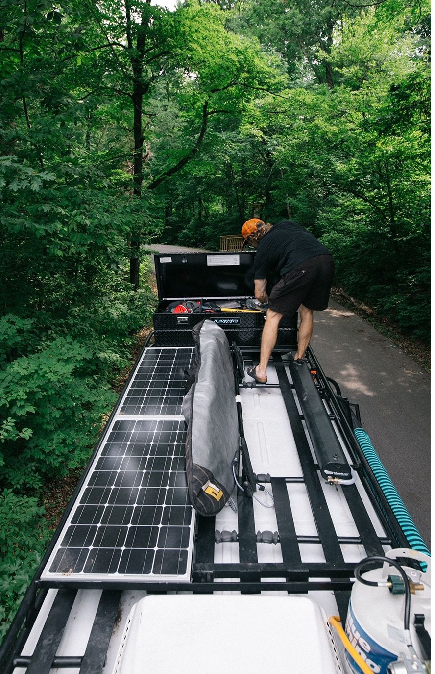 Aluminess Roof Rack On A Mercedes Sprinter Vancustomized For Motorhome Recreational Vehicles And Solar System Pinterest Panels