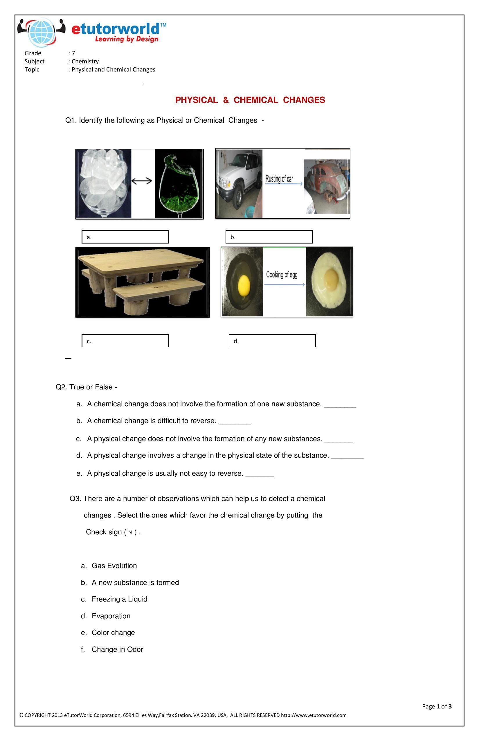 This engaging \u0026 fun #worksheet about 'Physical \u0026 Chemical Changes' has been  prepared by expert onl…   Science worksheets [ 2550 x 1650 Pixel ]