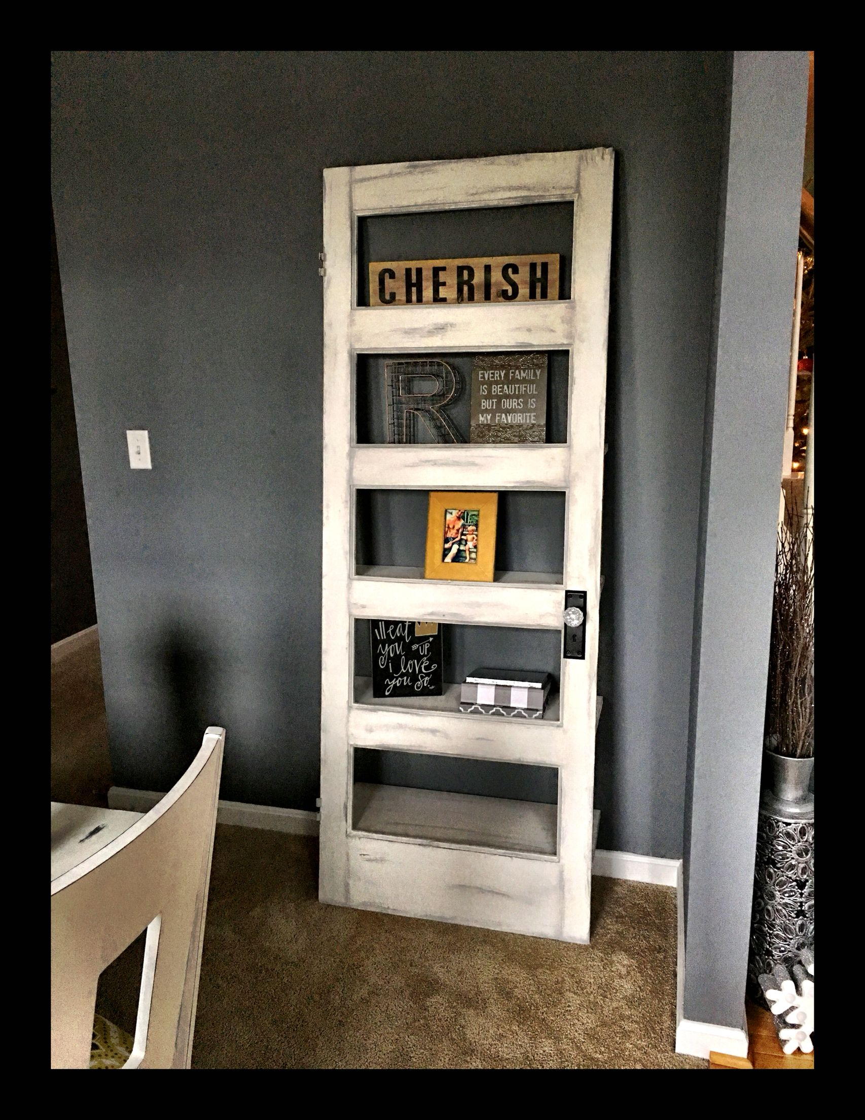 Old Five Panel Door That I Turned Into A Shelf