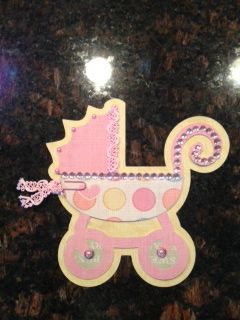 Carriage baby shaped card.  For more info please visit http://clippingsbysharondalyn.blogspot.com