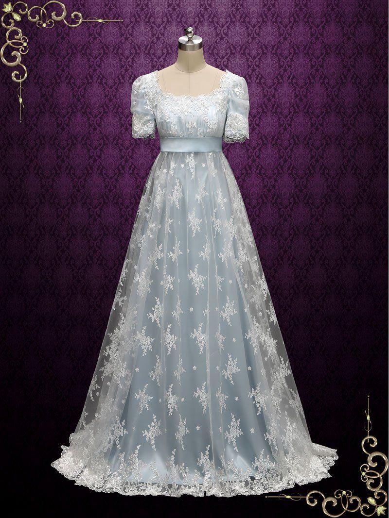 Powder Blue Regency Lace Evening Ball Gown HELENA