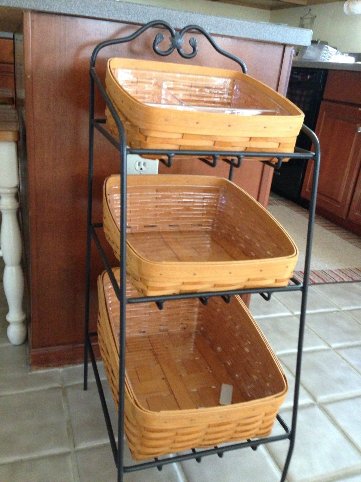 Longaberger Retired Wrought Iron Bin Stand With 3 Bin Baskets