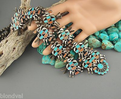 Zuni-OLD-PAWN-Thunderbird-INLAY-Turquoise-Coral-Jet-MOP-SQUASH-BLOSSOM-Necklace