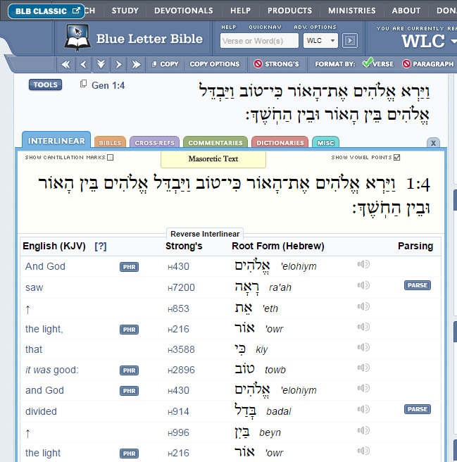 blue letter bible with leningrad codex and parsing of verb forms