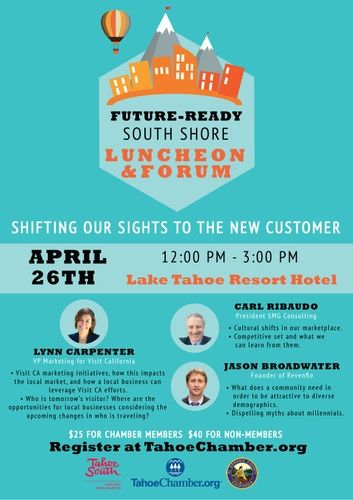 Future-Ready South Shore Forum & Luncheon - Apr 26, 2016 - Tahoe Chamber, CA