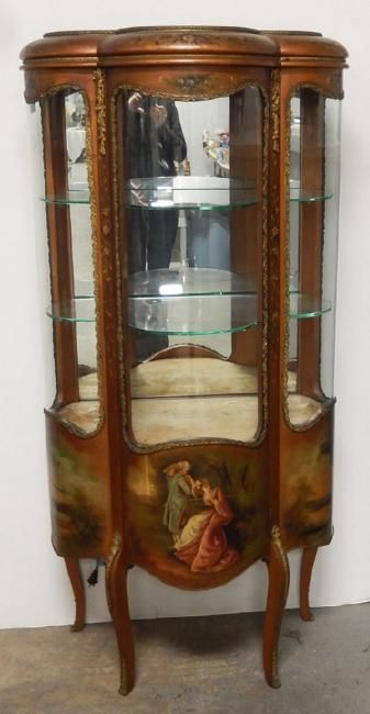 Vernis Martin vitrine hand painted on bottom panels