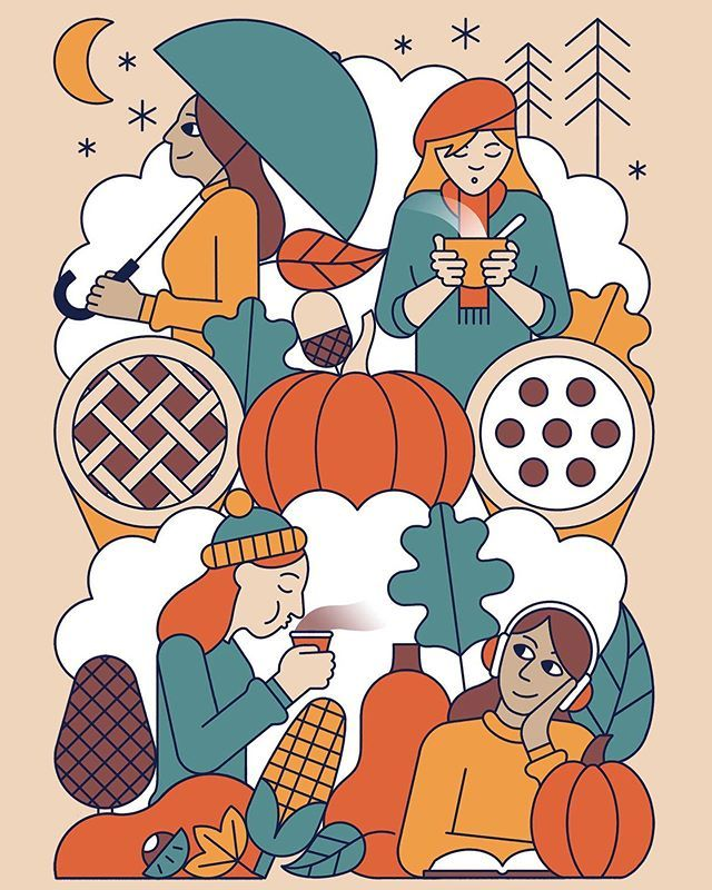 Autumn / Fall? Apple pie / Cherry pie? bonfire night / thanksgiving? Toffee apples / smores?... I love a bit of Autumn. I might even go so far as to say its my favourite.  _ #autumn #fall #illustration #drawing #food #pumpkin #applepie #cherrypie #thanksgiving #bonfirenight #hotdrink #leafs #people #girl #秋 #bonfirenightfood