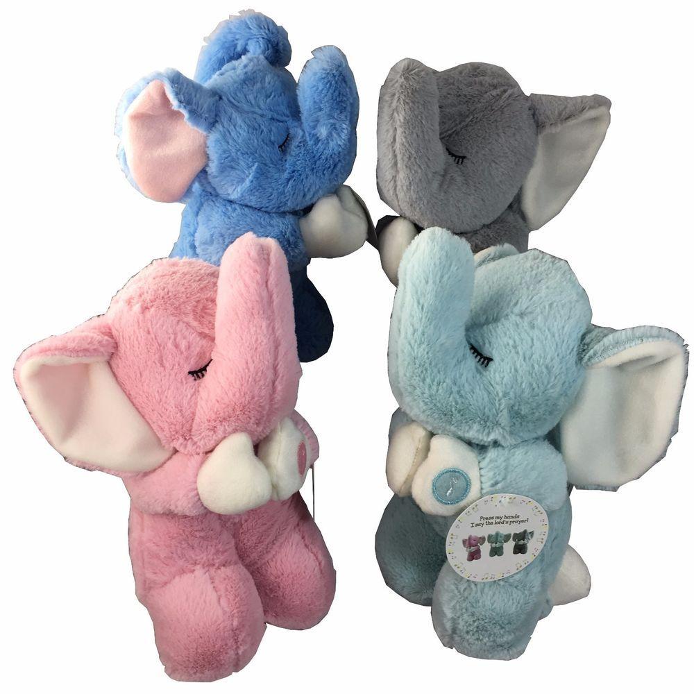 Praying Elephant Plush Kneeling Lord S Prayer Now I Lay Me Down To Sleep Stuffed Animal Pink Gray Grey Blue Elephant Plush Nursery Accessories Plush