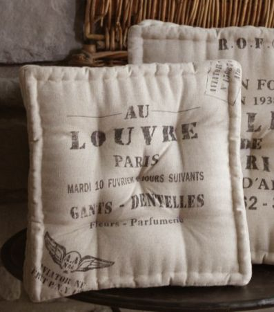 French Cafe Feed Sack Chair Cushion Love Them Dining Room Chair Cushions Chair Cushions Dining Chair Cushions