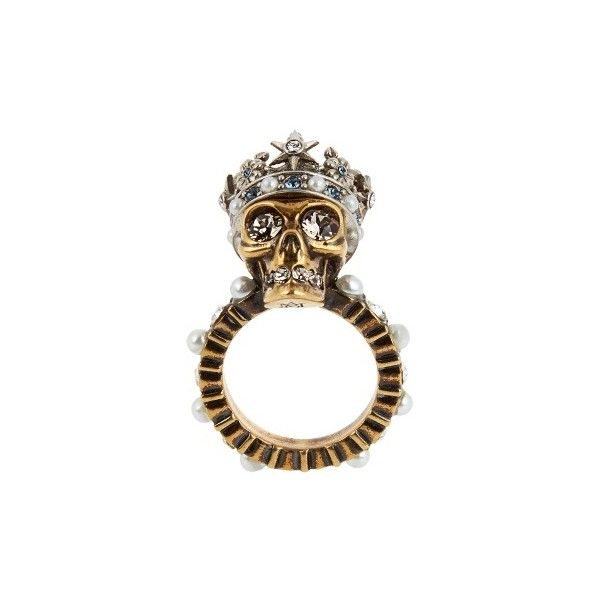 Alexander McQueen Queen skull crystal and pearl-embellished ring xX38yISb