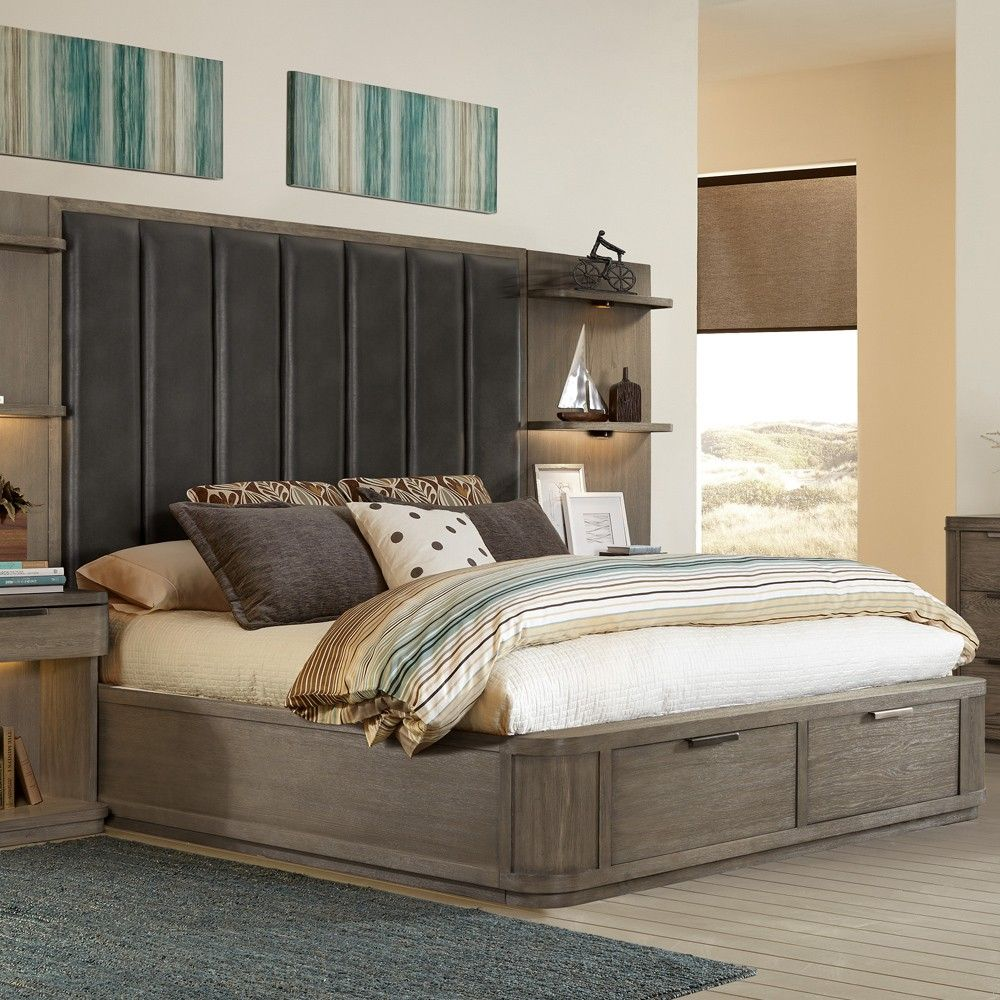 Precision Wood & Upholstered Tall Platform Storage Bed in