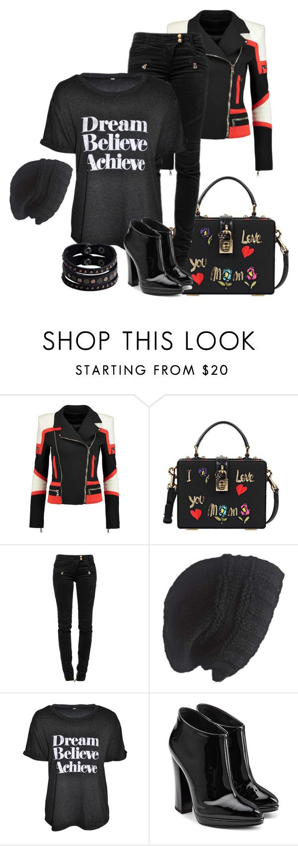 """Slogan Tops"" by eva-kouliaridou ❤ liked on Polyvore featuring Balmain, Dolce&Gabbana, Laundromat, Giuseppe Zanotti and Replay"