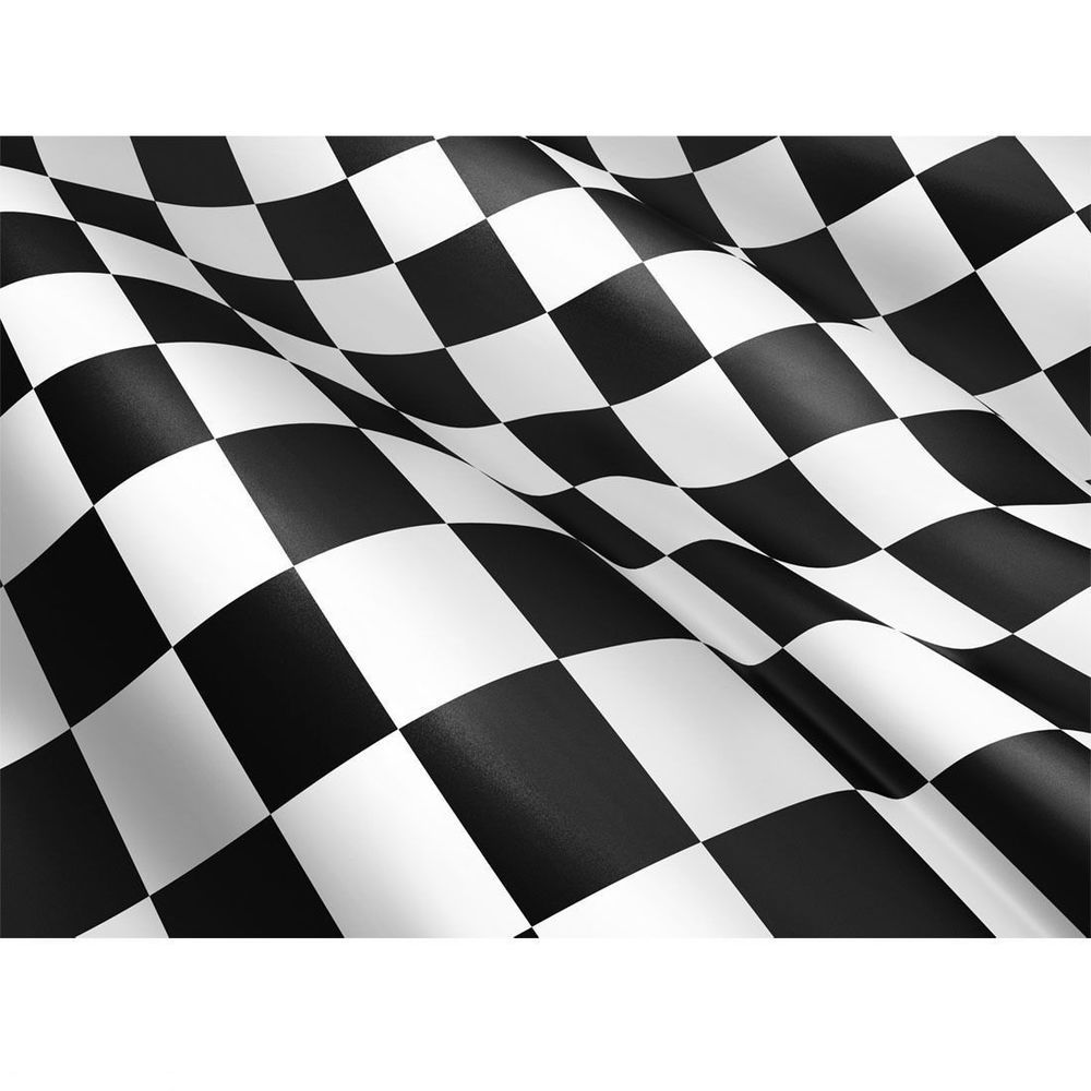 Details about LARGE CHEQUERED BLACK WHITE CHECK F1 RACING