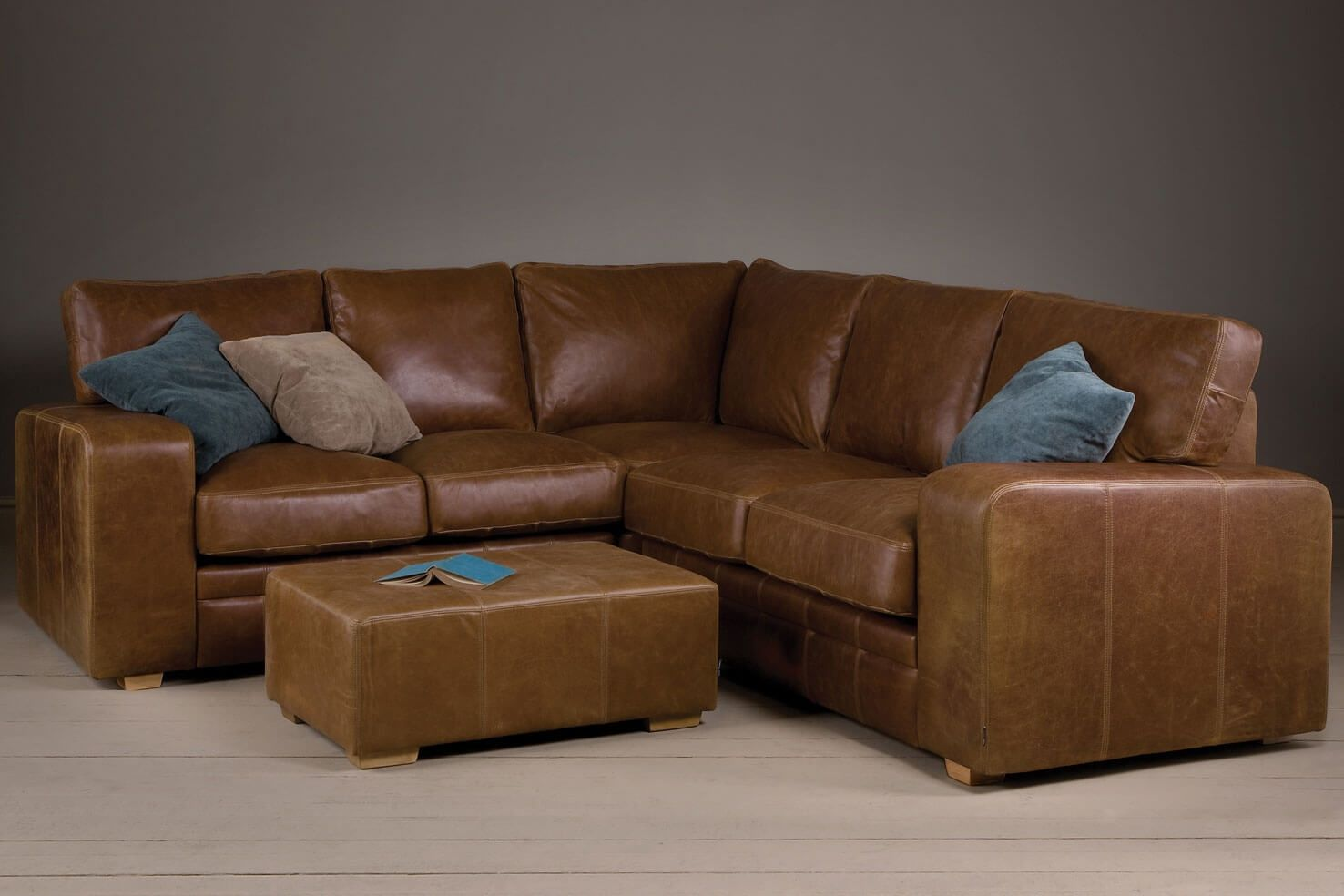 Broad Arm Leather Corner Sofa With A Footstool