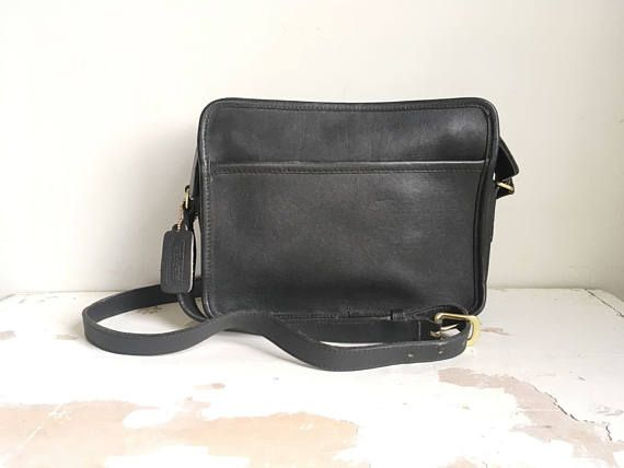 410449f66c Vintage COACH Square Crossbody Style Handbag in Black Leather Black leather  Coach handbag with front and