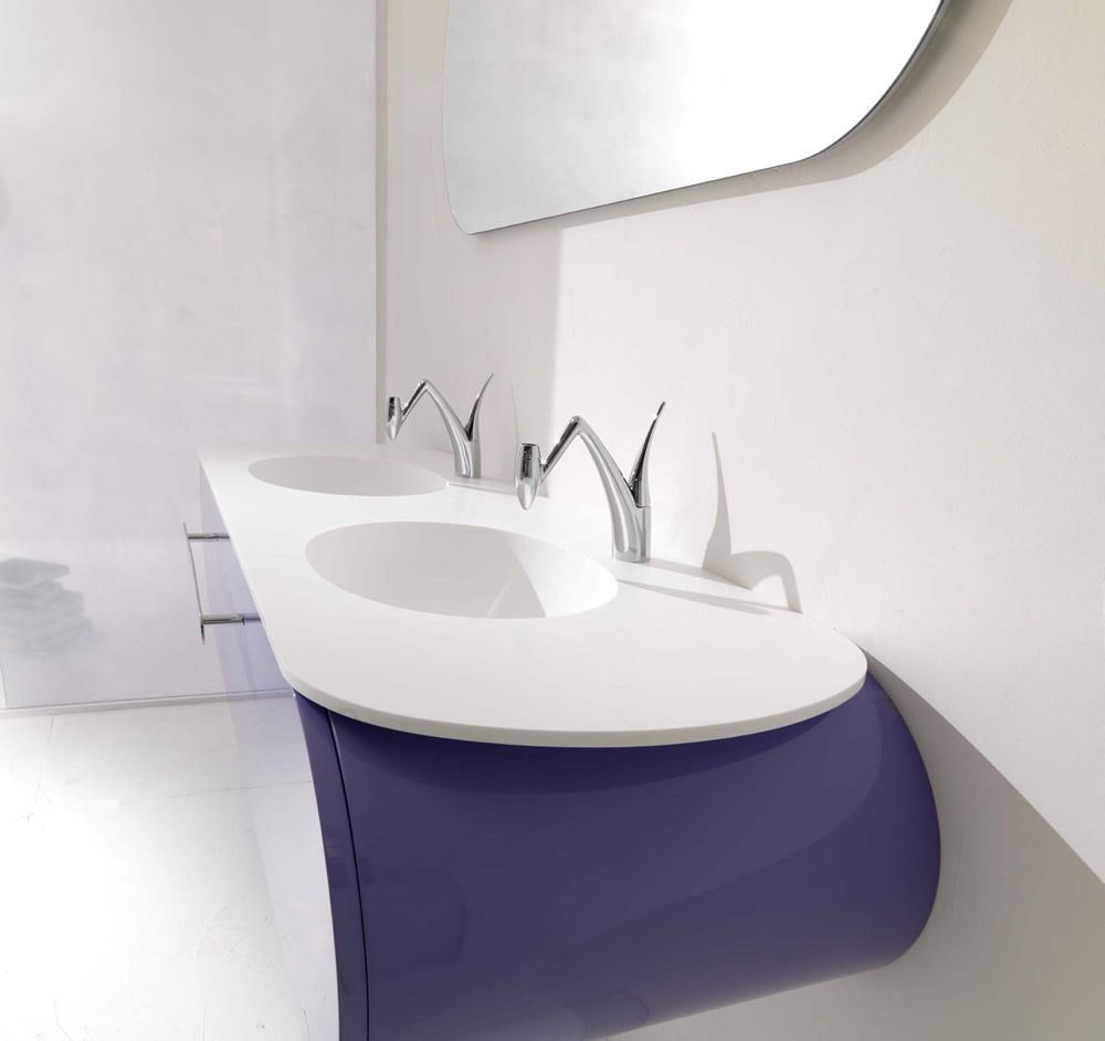 Cozy Exclusive Bathroom With White Purple Sink | PURPLE/LAVENDER ...