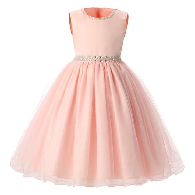 Simple yet stunning little girl dress. Dress your little princess in this  sweet pink sleeveless ball gown silhouette dress. Perfect for parties and  weddings ... c075863ac044