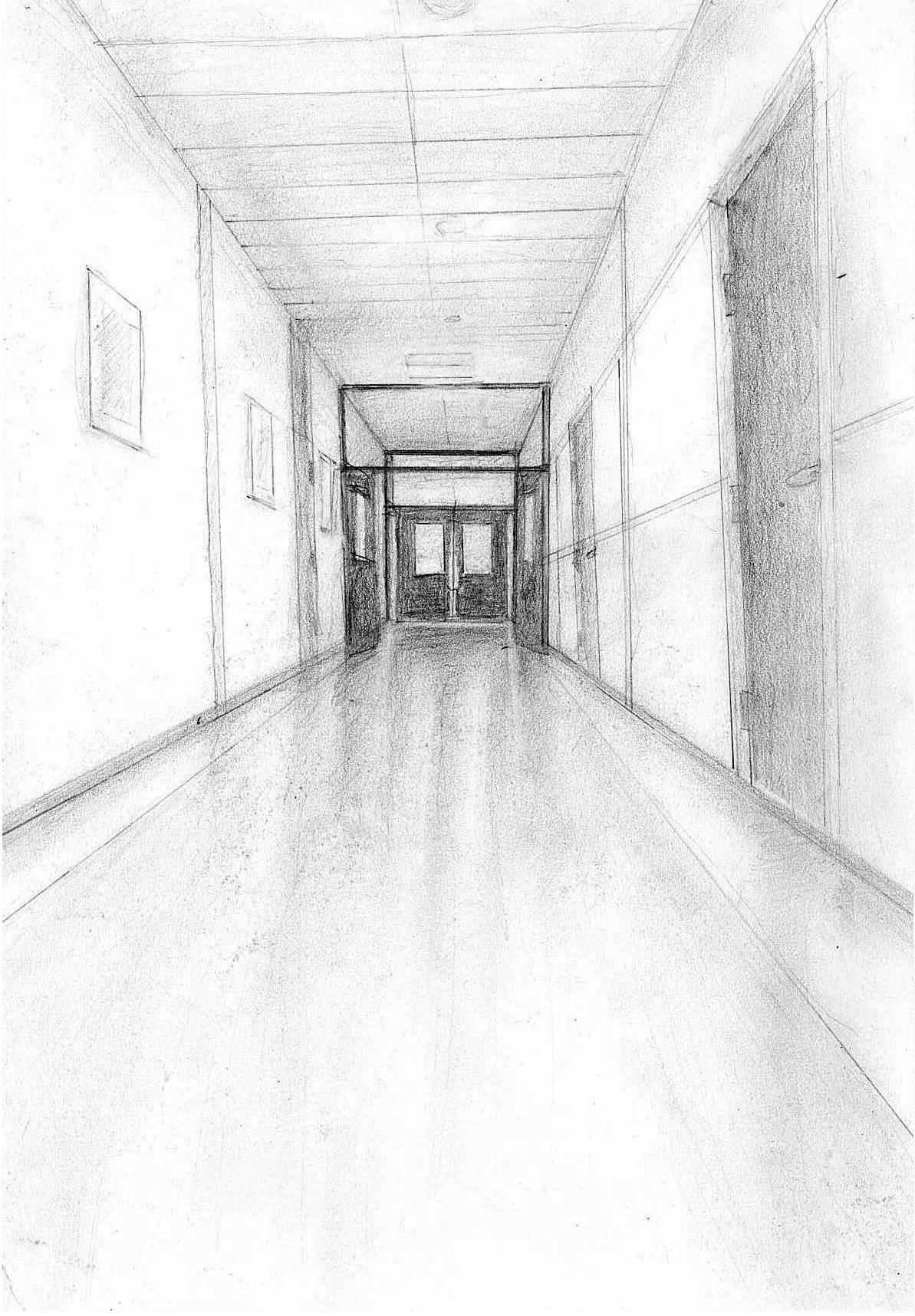 Drawing Corridor Hallway School Doors Perspektif Perspektif