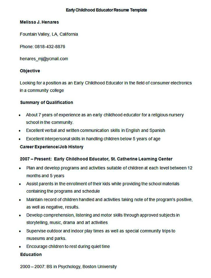 Good Teachers Resume Format , Writing a resume is not that easy - early childhood education resume