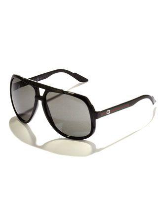 656196bb8bc Gucci Large Plastic Navigator Sunglasses