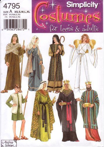 Simplicity Sewing Pattern 4795 Teens\' & Adults\' Christmas / Nativity ...