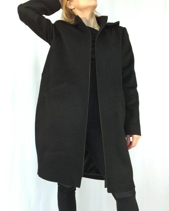 e85ab7bc413 Women Hooded Cashmere Coat   Oversize Cape Coat   Unique Black Hooded Jacket    EXPRESS SHIPPING   MD
